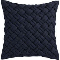 "jersey interknit navy 20"" pillow with down-alternative insert"