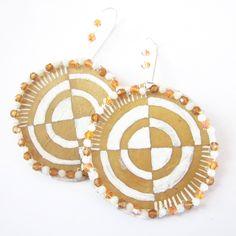 Parfleche Drop Earrings by Sun Rose Iron Shell | Beyond Buckskin Boutique