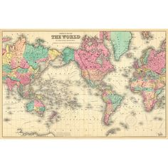 Colorful World Map Wall Mural | Wayfair