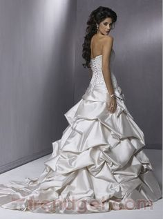 Puffy Ball Gown Off-the-shoulder Floor-length Lace White Wedding Dress 2013 - $189.99 - Trendget.com