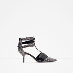 Image 1 of PRINTED LEATHER HIGH HEEL SHOES WITH STRAPS from Zara