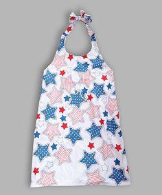 White Stars Sublimated Halter Dress - Toddler & Girls