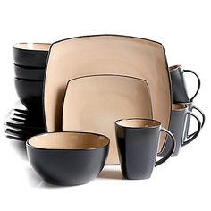Gibson Home Brown Dinnerware at Lowe's. Gibson's Soho Lounge Square 16 Piece Stoneware Dinnerware Set is perfect for every day meals and elegant dinner gatherings. The square shape with taupe
