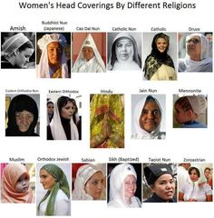 women's head covering by different religions- wonder why they only think about rescuing muslim women from headcover when everywhere in the world women cover their heads
