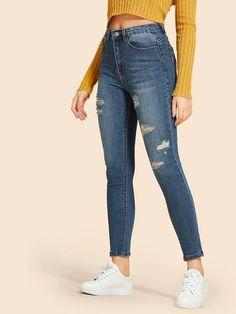 Straight Fit Cremallera Casual Jeans Rotos Moda Moda Talle Bajo Slim Fit Denim Pantalones Yying Hombre Vaqueros Largo