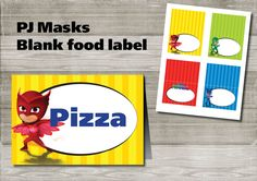 Instand DL - PJ Masks food label tent blank Printable- Printable (NON… Birthday Themes For Boys, Fourth Birthday, Superhero Birthday Party, 4th Birthday Parties, Birthday Fun, Birthday Ideas, Food Label, Pj Mask, Mask Party