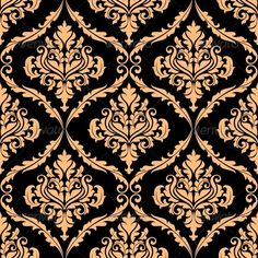 Damask Floral Pattern with Brown
