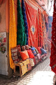The gorgeous colors of Marrakech, Morocco. The medina of Marrakech is a densely packed, walled medieval city dating to the Berber Empire, with mazelike alleys where thriving souks (marketplaces) sell traditional textiles, pottery and jewelry.