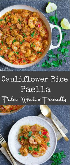 This super simple Spanish Paella is made grain-free with cauliflower rice!! So much flavor, and just like the real deal. #paleo #whole30