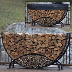 8' Round Firewood Log Rack with Kindling Kit and 1' Cover