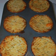 Mashed potatoes in muffin tins:   Just mash potatoes plain with butter or you can add yummy ingredients like cooked bacon, cheese, parsley, green onion etc. Stuff in to a greased muffin tin, run a fork along the top and brush with melted butter or olive oil. Bake at 375 degrees or until tops are crispy and golden.