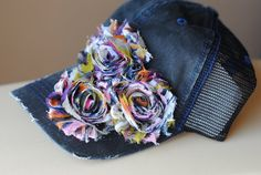 Womens Trucker Hat Mesh and Shabby Chic Chiffon Flower Cadet Hat Distressed Military Style Hat  Flower Cap on Etsy, $27.00