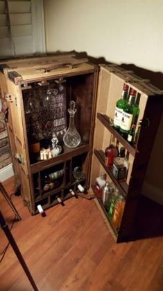 Antique steamer trunk converted into a bar, absolutely beautiful for any home - 43566762 - Home & Garden