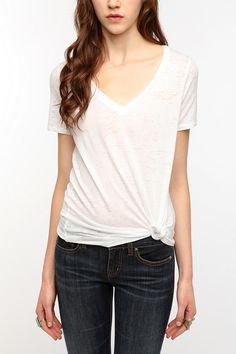 Urban Outfitters Sheer Burnout V-Neck Tee in White