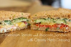 The Perfect Lunch ~ Heirloom Tomato and Avocado Sandwich with Creamy Herb Dressing The Organic Kitchen with pita bread! Real Food Recipes, Vegetarian Recipes, Cooking Recipes, Yummy Food, Healthy Recipes, Yummy Eats, Healthy Foods, Avocado Sandwich Recipes, Tomato Sandwich