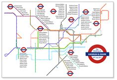 Table plan, based on tube map, with names under each line.  Clever idea!