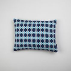 Our bold Puzzle cushion in the Sea colour way. Woven & handmade in Scotland using the finest lambswool. www.heather-shields.co.uk Photography - Susan Castillo