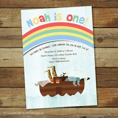 A cute Noahs ark birthday party invitation  Love this birthday party invitation design? Take a look at the information below for instructions on