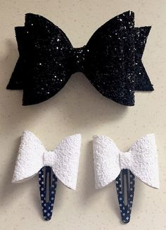 SPARKLING GLITTER HAIR BOWS WITH HAIR CLIPS - BLACK AND WHITE  | eBay