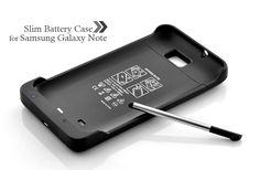 Slim Battery Case for Samsung Galaxy Note (3500mAh, Black)   =====> his sleek case features a powerful 3500mAh battery that allows you to use your Galaxy Note for more than double the normal time and doesn't tack on much additional weight/size.     It is made of solid acrylic and protects your Galaxy Note while providing some extra battery juice.
