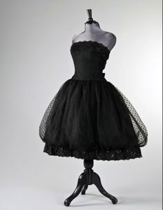 ~A Givenchy black point d'esprit ball gown, 1956.  Worn by Audrey Hepburn~