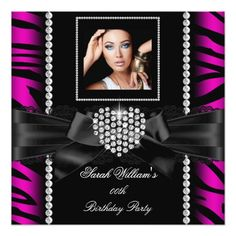 Hot Pink Lace Heart Zebra Birthday Party Photo 2 Card