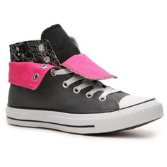 Converse Women s Chuck Taylor All Star HI Double-Fold Sneaker - Black Pink  87eb39d38