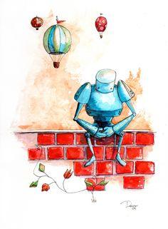 Blue Robot Illustration by Nancy Dorsner