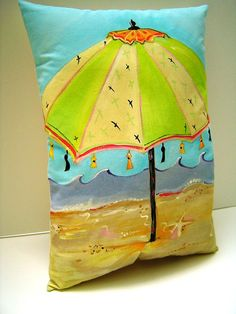 The Beach Umbrella - Pillow - Hand Painted - 12X16.5 - Whimsy - Beach Cottage - Summer Vacation - Art Pillow via Etsy