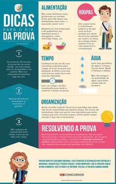Infográfico: Dicas para o dia da prova Studying Girl, College Guide, Study Board, Interesting Information, Knowledge Is Power, Studyblr, It Network, School Life, Study Notes