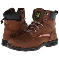 John Deere 6 Lightweight Lace-Up Steel Toe (Brown) Women's Work... ($166) ❤ liked on Polyvore featuring shoes, boots, ankle boots, short brown boots, john deere boots, short lace up boots, steel toe shoes and brown lace up boots