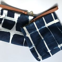 I dream in indigo, my wanderlust starts at blue. The timeless appeal of blue and white is the inspiration behind the Shibori hand-dyed patterning on this organic cotton pouch. ~ measures 9.5