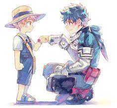 Deku and Katsuma, brofist My Hero Academia Memes, Hero Academia Characters, My Hero Academia Manga, Buko No Hero Academia, Captain Tsubasa, Fan Anime, Anime Art, Manhwa, Deku Anime