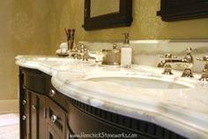 Double sink vanity w/an ogee edge Natural Stone Bathroom, Natural Stones, Vanity Backsplash, Crocodile Rock, Ogee Edge, Calacatta Marble, Double Sink Vanity, Bathrooms, Home Decor