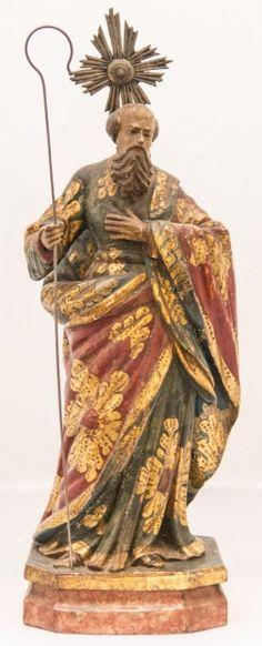 Imagem de São Joaquim, madeira policromada. Bahia, século XIXl. Alt. 37cm. Vendido por 1.800,00
