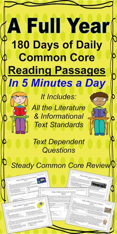 180 Different Common Core Aligned Passages for Quick and Daily Morning Review~24 hours left to save~ The price will increase by $13 in one day.  The Pony Express, The Inca, Plants, Historical Fiction, Poetry, Plays and More are Included.  Many of the standards repeat across the weeks to provide STEADY Common Core review.  $