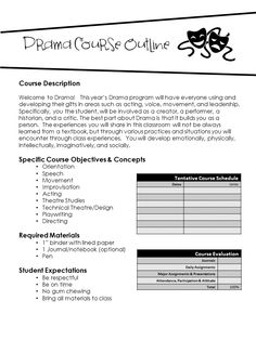FREEBIE! Editable Drama Course Outline. Customize your own units of study, dates, and evaluation.