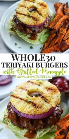 Paleo Meals, Healthy Lunches, Paleo Recipes, Egg Free Recipes, Whole 30 Recipes, Homemade Burger Patties, Gluten Free Teriyaki Sauce, Teriyaki Burgers, Whole 30 Meal Plan