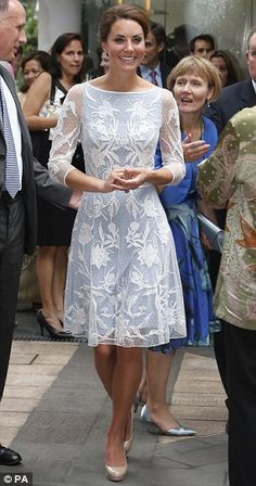 Catherine at the Diamond Jubilee tea party at the British High Commission in Kuala Lumpur, wearing an elegant ice blue lace dress by Alice Temperley with LK Bennett nude shoes 14 Sept 2012. #wkw