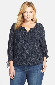 Lucky Brand Vine Print Split Neck Woven Peasant Top (Plus Size) available at #Nordstrom