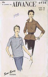 "VINTAGE SHIRT BLOUSE ADVANCE 1950s SEWING PATTERN SIZE 16 BUST 34 HIP 37"" UNCUT | eBay"