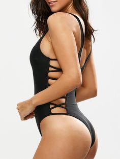 $12.89 Crisscross Strap Cut Out Swimsuit - BLACK S