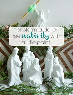 Nativity Set Dollar tree nativity gets a quick and easy update with spray paint!Dollar tree nativity gets a quick and easy update with spray paint! Diy Nativity, Christmas Nativity, Winter Christmas, Christmas Holidays, Nativity Scenes, Christmas Bells, Merry Christmas, Christmas Projects, Holiday Crafts