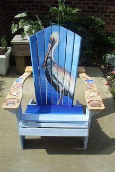 Image Detail for - Adirondack Chair by Cynthia Davis . Art Furniture, Plywood Furniture, Beach Furniture, Funky Furniture, Rustic Furniture, Hand Painted Chairs, Hand Painted Furniture, Wooden Chairs, Adirondack Chairs