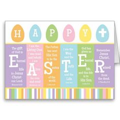 Happy Easter Christian Scripture Verse Card Colorful Eggs.  BLANK inside Personalize with your message.  See the artist Bunglehouse store link via Zazzle.