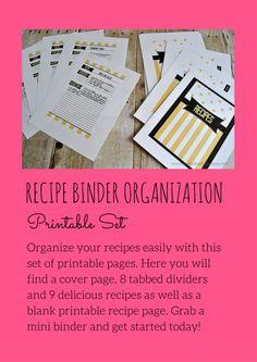 Recipe Binder Organization