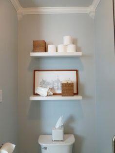 shelves above toilet bathrooms