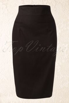 Collectif Clothing 50s Fiona Black Pencil skirt 51 4998 20130522 0003K
