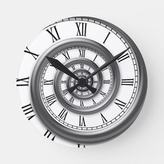 Shop Roman Spiral Wall Clock created by kbilltv. Personalize it with photos & text or purchase as is! Pocket Watch Tattoos, Pocket Watch Drawing, Time Piece Tattoo, Time Tattoos, Sleeve Tattoos, Clock Tattoo Design, Wall Clock Design, Bussola Tattoo, Broken Clock Tattoo