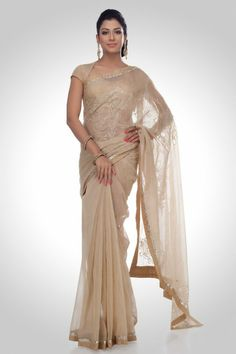 Cream Embellished Chanderi Saree